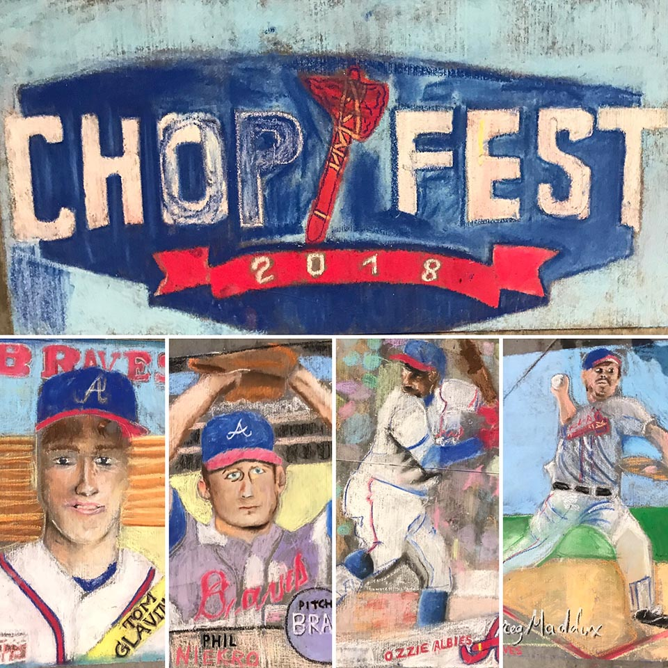 Community chalk art based on baseball card designs.