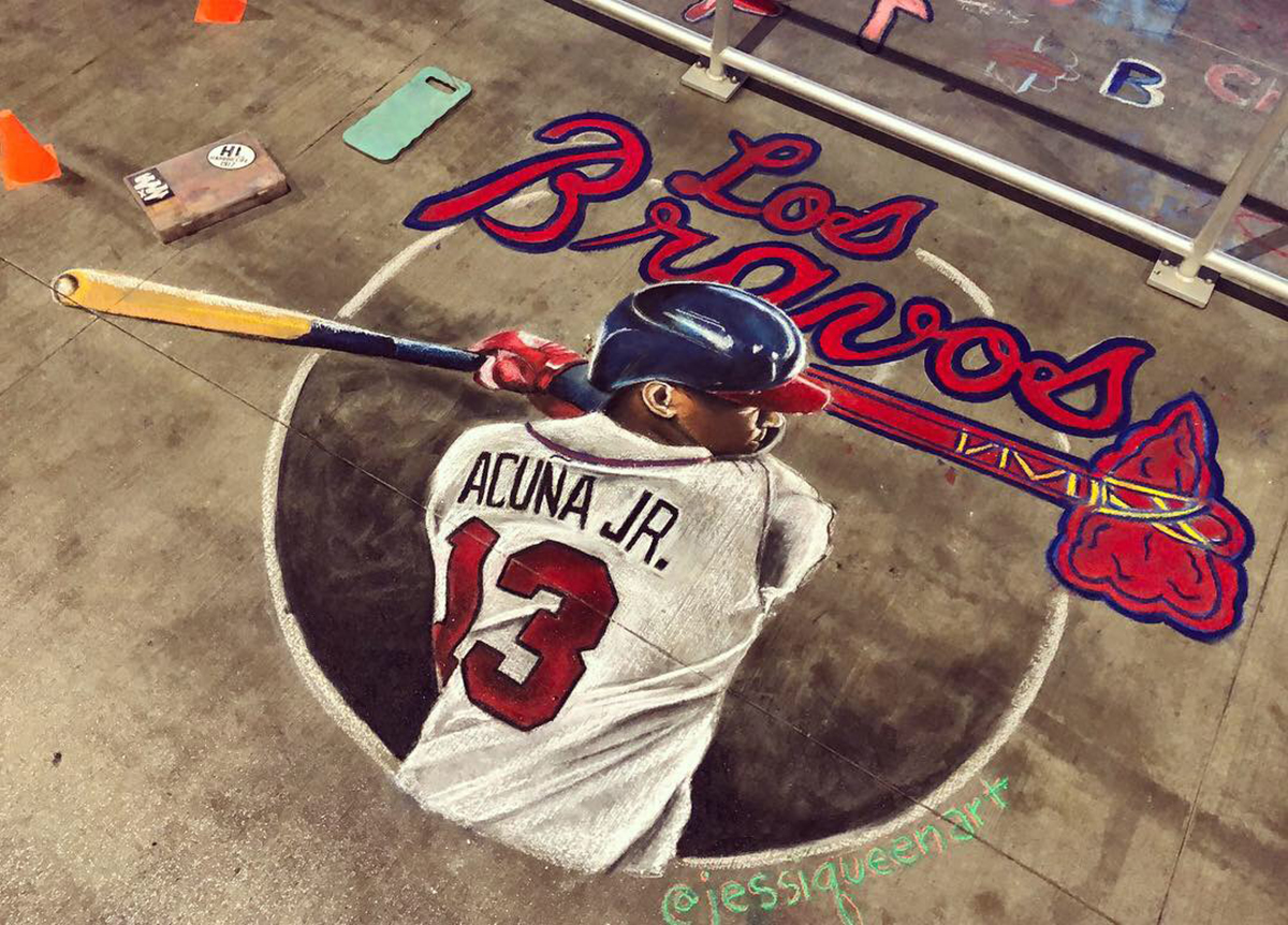 Chalk Mural for Braves Acuna